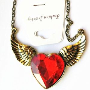 Bronze Heart Wing Necklace - Red